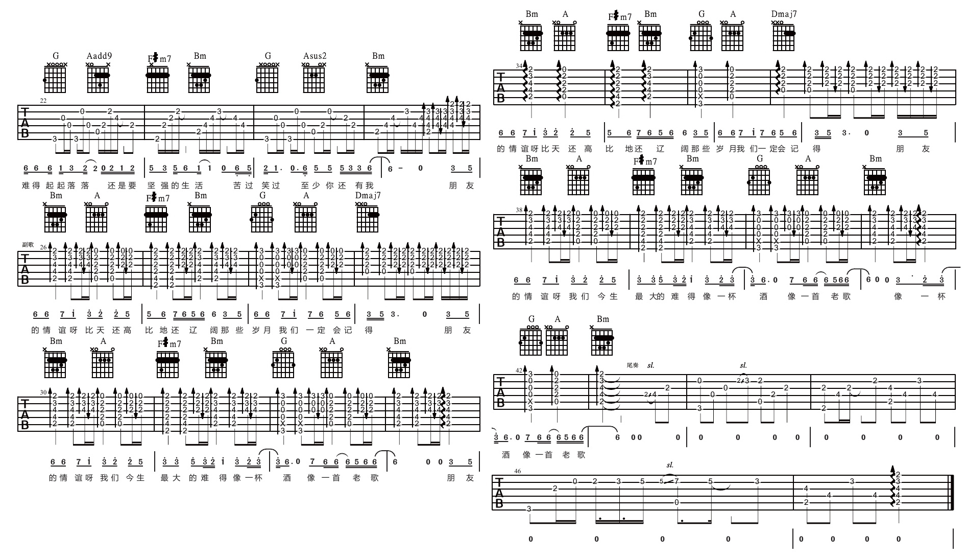 高进/小沈阳《我的好兄弟》吉他教学